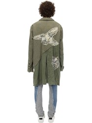 Greg Lauren Army And Wool Blend Tweed Trench Coat Green