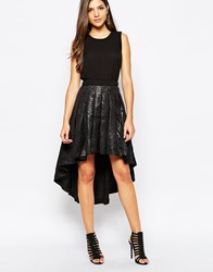 Y.A.S Pleated High Low Dress Black