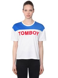 Filles A Papa Tomboy Cotton Jersey T Shirt White Blue