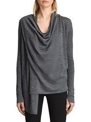 Allsaints Drina Ribbed Cardigan Charcoal Grey