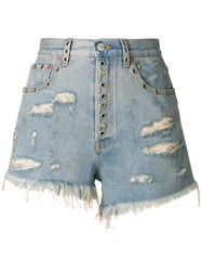 Gucci Distressed Fitted Shorts Cotton Calf Leather Brass Blue