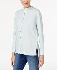 Eileen Fisher Organic Cotton Mandarin Collar Shirt Aurora