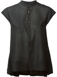 Y 3 Mandarin Collar Short Sleeve Top Black