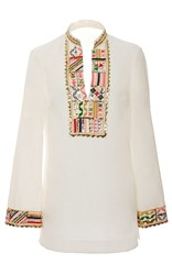 Tory Burch Embellished Tunic White Gold Red