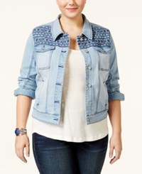 American Rag Plus Size Printed Winter Wash Denim Jacket Only At Macy's