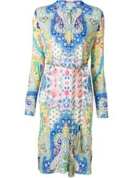 Etro Paisley Print Shirt Dress Blue