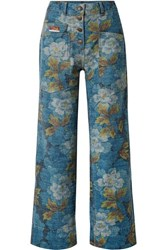 Kenzo Floral Print High Rise Straight Leg Jeans Blue