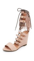 Free People Solstice Fringe Wedges Blush