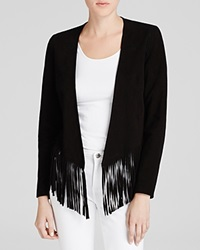 Moon And Meadow Suede Fringe Hem Jacket Black