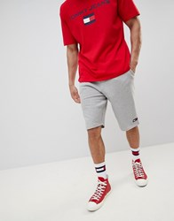 Tommy Jeans Flag Logo Sweat Shorts In Grey Marl Light Grey Heather