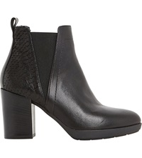 Dune Pondo Leather Reptile Trim Ankle Boot Black Leather