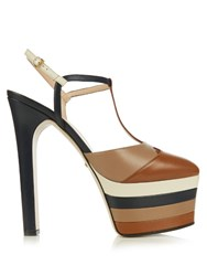 Gucci Angel Leather Striped Platform Sandals
