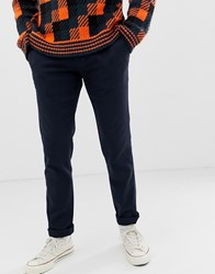 Ted Baker Slim Chinos With Textured Stretch In Navy