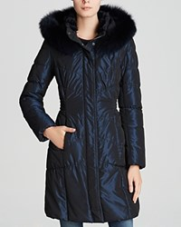 Maximilian Quilted Coat With Mink And Fox Fur Trim Navy
