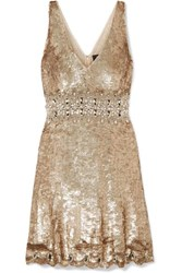 Jenny Packham Effie Embellished Sequined Tulle Mini Dress Metallic