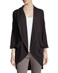 Skin Open Front Draped Cardigan Black