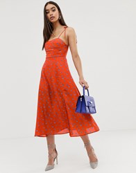 Fashion Union Structured Midi Dress With Tie Sleeves In Floral