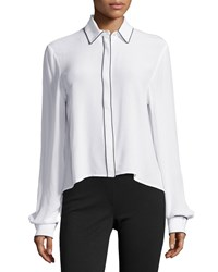 Zac Posen Piped Button Down Blouse White Black