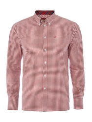 Merc Long Sleeve Gingham Check Shirt Red