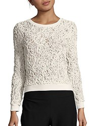 Romeo And Juliet Couture Cotton Blend Long Sleeve Lace Top Black