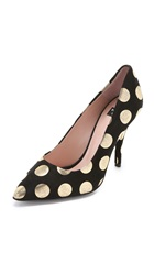 Boutique Moschino Suede Polka Dot Pumps Black Gold