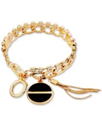 Guess Gold Tone Crystal Jet Stone And Tassel Charm Bracelet