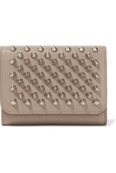Christian Louboutin Macaron Mini Spiked Leather Wallet Beige