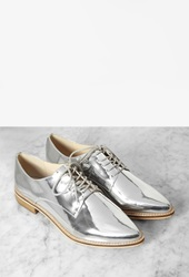 Forever 21 Metallic Faux Leather Oxfords Silver