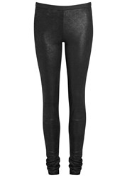 Rick Owens Black Stretch Leather Leggings
