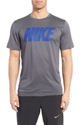 Nike Men's 'Legend' Mesh Graphic Training T Shirt Dark Grey Deep Royal Blue
