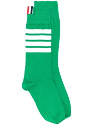 Thom Browne 4 Bar Mid Calf Cotton Socks Green