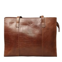 Maxwell Scott Bags Luxury Italian Leather Women's Tote Handbag Scala Chestnut Tan Brown