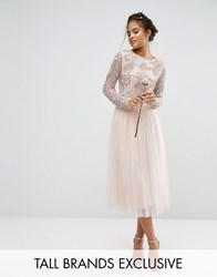 Maya Tall Satin Waist Midi Full Tulle Skirt With Bow Back Detail Co Ord Nude Pink