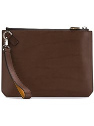 Salvatore Ferragamo Wrist Strap Clutch Brown