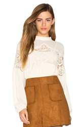 Deby Debo Delaney Lace Trimmed Top Cream