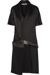 Chalayan Asymmetric Leather Trimmed Satin Crepe Top Black