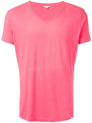 Orlebar Brown V Neck T Shirt Men Cotton Polyester L Pink Purple