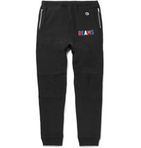 Beams Champion Slim Fit Tapered Loopback Cotton Blend Jersey Sweatpants Black