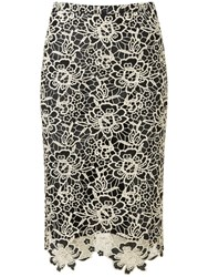 Pure Collection Sofia Lace Pencil Skirt Black Gold