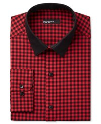 Bar Iii Men's Interchangeable Collar Slim Fit Red Gingham Dress Shirt Only At Macy's