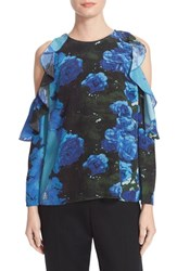 Tracy Reese Women's Floral Print Flounced Blouse