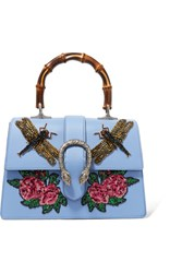 Gucci Dionysus Bamboo Medium Appliqued Leather Tote Sky Blue