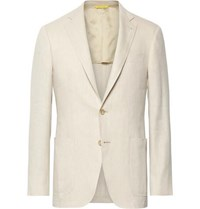 Canali Beige Kei Slim Fit Linen And Wool Blend Suit Jacket Beige