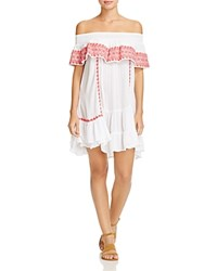 Muche Et Muchette Gavin Embroidered Off The Shoulder Ruffle Dress Swim Cover Up White Red