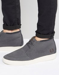 Fred Perry Shields Mid Wax Cotton Mid Trainers Grey