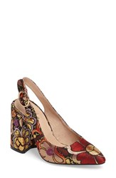 Shellys Women's London 'Chester' Slingback Glitter Pump Floral Multi Fabric