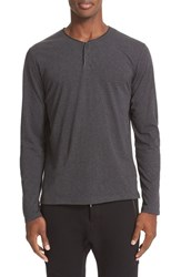 The Kooples Men's Leather Piped Long Sleeve Henley Grey