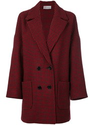 Red Valentino Houndstooth Coat Women Polyester Acetate Wool Water 38 Red