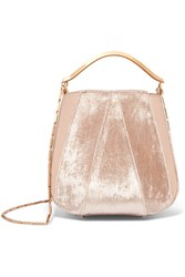 Eddie Borgo Pepper Velvet And Leather Bucket Bag Baby Pink
