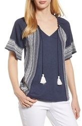 Caslon Embroidered Border Peasant Top Navy Ivory Dita